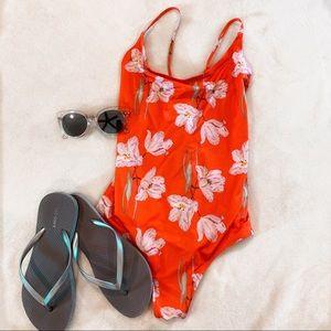 H&M coral floral one piece swim suit